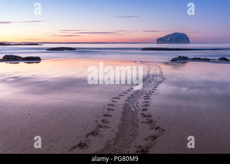 UK, Scotland, East Lothian, North Berwick, Firth of Forth, view of Bass Rock (world famous Gannet Colony) at sunset, Lighthouse, long exposure, sea mo - Stock Photo