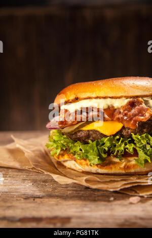 Cheese Bacon Burger - Stock Photo