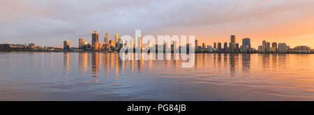 Perth city and the Swan River at sunrise. Perth, Australia - Stock Photo