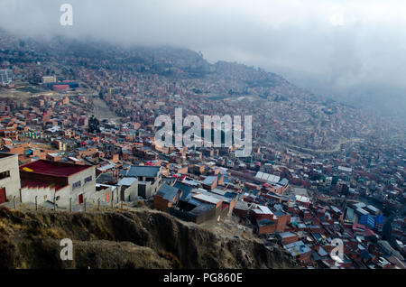 La Paz as seen while traveling in the red cable car - Stock Photo