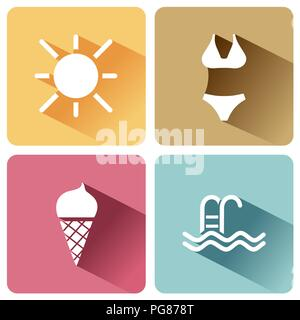 Four summer and tourism icons set with shade. Fourth group. Vector illustration - Stock Photo