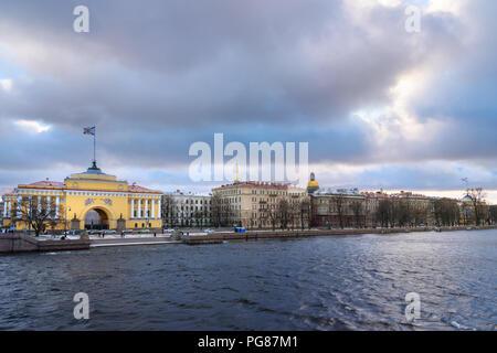 View of Admiralty Embankment in Saint Petersburg, Russia - Stock Photo