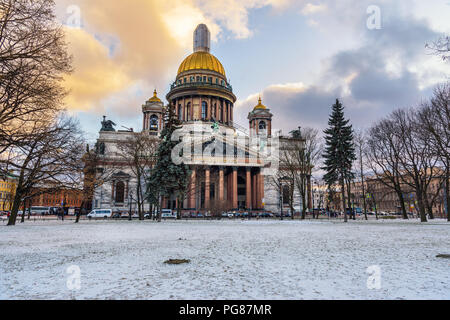 Saint Isaac's Cathedral in winter at Saint Petersburg. Russia - Stock Photo