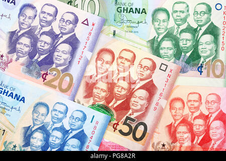 Money from Ghana, a business background - Stock Photo