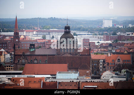 Nuremberg, Germany. 23rd Aug, 2018. Panoramic view in south direction over the oldtown with the State Theatre and the Opera House (C). Credit: Daniel Karmann/dpa/Alamy Live News - Stock Photo
