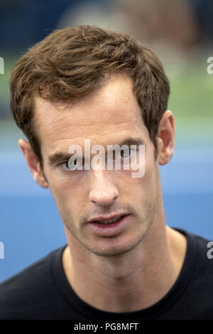 New York, USA. 24th Aug, 2018. British tennis player Andy Murray arrives for a press conference on the US Tennis Open, at the Armstrong stadium, in Flushing Meadows, New York, United States, 24 August 2018. Credit: Miguel Rajmil/EFE/Alamy Live News - Stock Photo