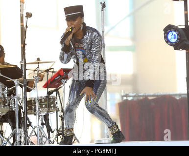 New York, USA. 24th Aug 2018. Janelle Monae performs on NBC's Today Show as part of the Citi Concert Series on August 24th, 2018 in New York City Credit: MPA/Alamy Live News