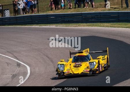 Bowmanville, CAN., 08 Jul 2018. 8th July, 2018. The number 85 ORECA LMP2, driven by the team of Simon Trummer and Robert Alon, in the Prototype series, enters the sweeping right of turn 1 on 08 of July, 2018 at Canadian Tire Motorsport Park during the Mobil 1 SportsCar Grand Prix weekend. Credit: Victor Biro/ZUMA Wire/Alamy Live News - Stock Photo