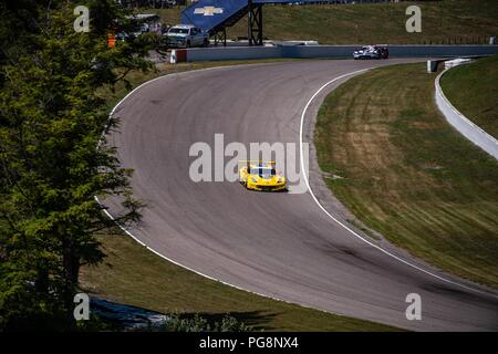 Bowmanville, CAN., 08 Jul 2018. 8th July, 2018. A Corvette endure the off-camber, full throttle, of turn 4 on 08 of July, 2018 at Canadian Tire Motorsport Park during the Mobil 1 SportsCar Grand Prix weekend. Credit: Victor Biro/ZUMA Wire/Alamy Live News - Stock Photo