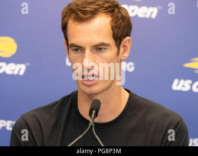 New York, USA - August 24, 2018: Andy Murray of England conducts interview during qualifying day 4 at US Open Tennis championship at USTA Billie Jean King National Tennis Center Credit: lev radin/Alamy Live News - Stock Photo
