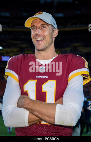 Landover, USA. August 24, 2018: Washington Redskins quarterback Alex Smith (11) interacts after the NFL preseason game between the Denver Broncos and the Washington Redskins at FedExField in Landover, Maryland. Scott Taetsch/CSM Credit: Cal Sport Media/Alamy Live News - Stock Photo