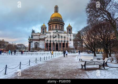 Saint Petersburg, Russia - January 7, 2018: Saint Isaac's Cathedral in winter - Stock Photo