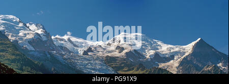 Panorama view of Mont Blanc and nearby peaks in the Alps mountain range in summer. - Stock Photo