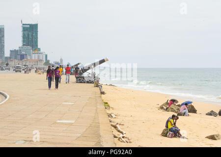 Colombo, SRI LANKA - NOVEMBER 2013: people relaxing on beach Galle Face Green in Colombo, Sri Lanka on November 2013. - Stock Photo