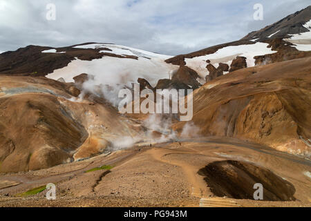 Rock formations and volcanic thermal fissures in the Jokulgil Canyon area of Iceland. - Stock Photo