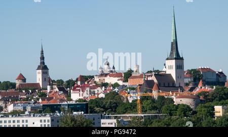 Landscape view of Tallinn Estonia from the Baltic Sea - Stock Photo