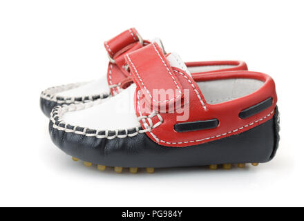 Baby leather shoes isolated on white - Stock Photo