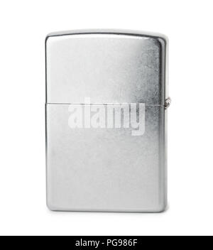 Side view of closed stainless steel cigarette lighter isolated on white - Stock Photo