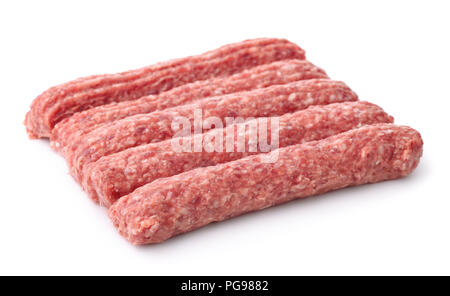 Row of fresh raw beef kebabs isolated on white - Stock Photo