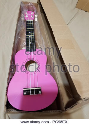 There is a pink ukulele in a box - Stock Photo