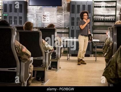 180818-N-RG482-385    POTI, Georgia (Aug. 18, 2018) Chief Mate Roshenda Josephs, a civil service mariner assigned to the Spearhead-class expeditionary fast transport ship USNS Carson City (T-EPF 7), provides a safety brief to U.S. Army Soldiers assigned Bravo Company, 2nd Battalion, 5th Cavalry Regiment, 1st Armored Brigade Combat Team, 1st Cavalry Division Aug. 18, 2018. Carson City is the seventh of nine expeditionary fast transport ships in Military Sealift Command's inventory with a primary mission of providing rapid transport of military equipment and personnel in theater via its 20,000 s
