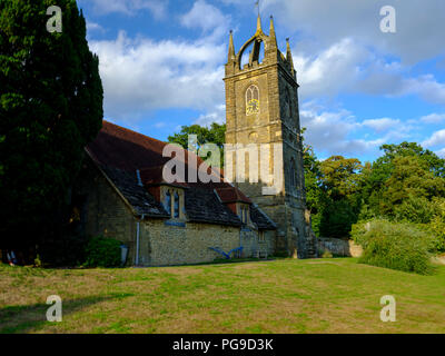 Late afternoon summer light on All Hallow's Church at Tillington next to the Petworth Estate in the South Downs National Park, West Sussex, UK - Stock Photo