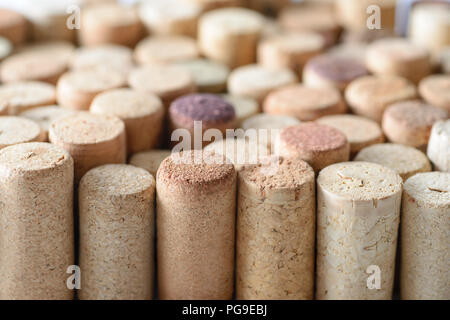 Pile of assorted used wine corks. Close up view. - Stock Photo