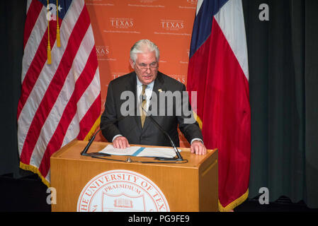 U.S. Secretary of State Rex Tillerson spoke on the campus of The University of Texas at Austin today (Feb.1) as part of his tour of the Western Hemisphere. In his speech at UT Austin, he outlined his policy priorities for the region and took questions from the audience. - Stock Photo