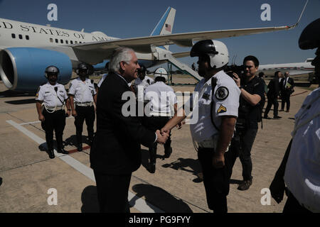 U.S. Secretary of State Rex Tillerson thanks the Argentine police escorts who facilitated motorcade movements during his visit in Buenos Aires, Argentina, February 5, 2018. - Stock Photo