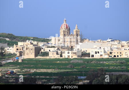 Basilica and Collegiate Parish church of the Visitation of Our Lady in Gharb. Gozo Island, Malta - Stock Photo