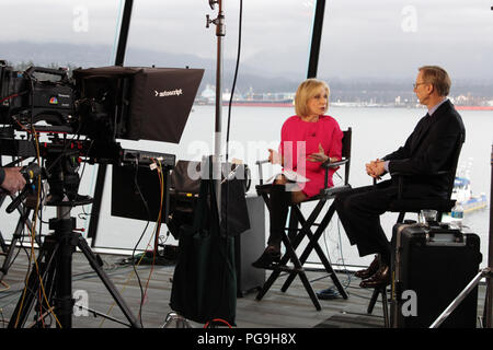 Senior Policy Advisor to the Secretary of State and Director of the Secretary's Policy Planning Staff Brian Hook speaks to on-air to NBC News Chief Foreign Affairs Correspondent/anchor, Andrea Mitchell at the Foreign Ministers' Meeting on Security and Stability in the Korean Peninsula in Vancouver, Canada on January 16, 2018. - Stock Photo