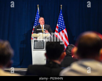 U.S. Secretary of State Mike Pompeo addresses the press at the White House Filing Center in Singapore on June 11, 2018. - Stock Photo