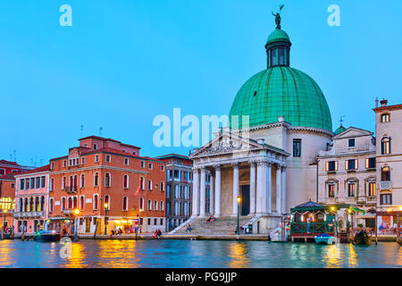 View of Grand Canal and San Simeone Piccolo church in Venice, Italy - Stock Photo