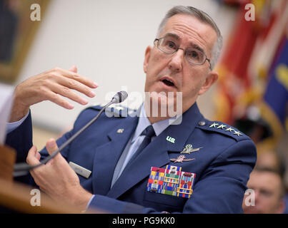 Commander, U.S. Strategic Command, General John Hyten testifies before the House Subcommittee on Strategic Forces during a hearing on Space Situational Awareness: Whole of Government Perspectives on Roles and Responsibilities, Friday, June 22, 2018 at the Rayburn House Office Building in Washington. - Stock Photo