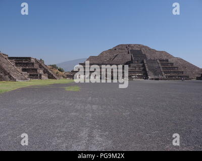 Scenic pyramid of Moon at Teotihuacan ancient ruins seen from Avenue of the Dead near capital Mexico city landscapes with clear blue sky in 2018 warm  - Stock Photo