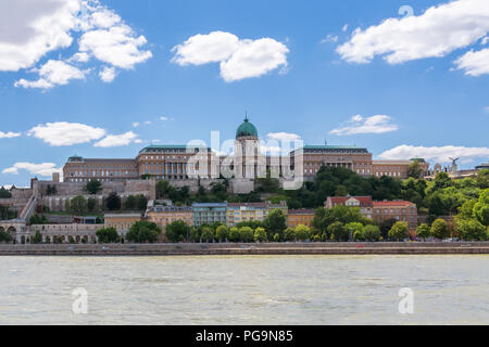 The views of the Royal Palace - Buda castle, located on the banks of the Danube river in Budapest, Hungary. - Stock Photo