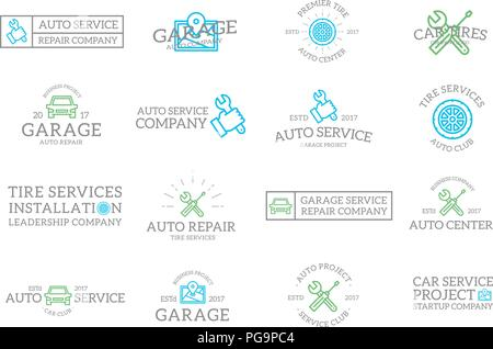 Set of retro vintage car service and auto repair logo or insignia, emblems, labels and badges and other branding objects. Vector line style - Stock Photo
