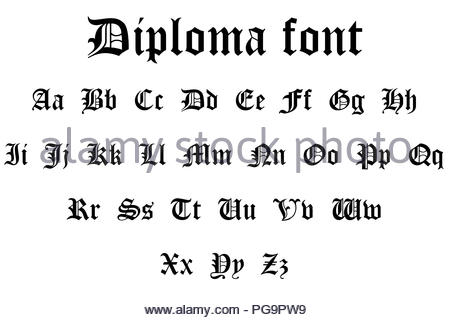 diploma font alphabet - Stock Photo