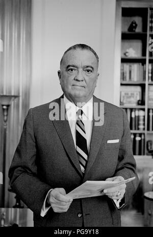 John Edgar Hoover (January 1, 1895 – May 2, 1972) was an American law enforcement administrator and the first Director of the Federal Bureau of Investigation (FBI) of the United States. He was appointed as the director of the Bureau of Investigation –the FBI's predecessor – in 1924 and was instrumental in founding the FBI in 1935, where he remained director for over 37 years until his death in 1972 at the age of 77. Hoover has been credited with building the FBI into a larger crime-fighting agency than it was at its inception and with instituting a number of modernizations to police technology - Stock Photo