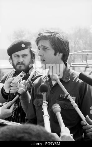 John Kerry Vietnam Veterans Against the War  spokesman at microphone at the US Capitol Building in Washington, DC - Stock Photo