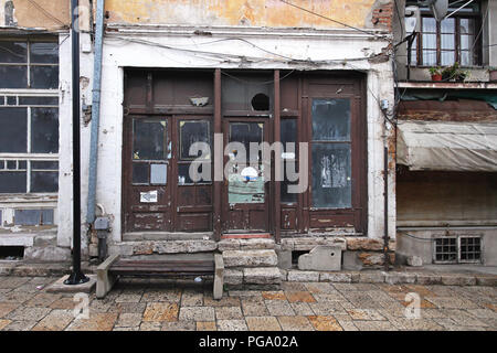 Abandoned local shop at Old Bazaar in Skopje - Stock Photo
