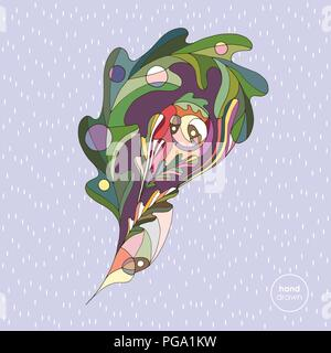 Hand drawn oak leaf vector illustration. Abstract autumn paisley. Leaves design element in modern style. - Stock Photo