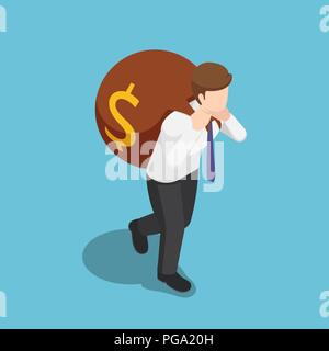 Flat 3d isometric businessman carry big money bag on his back. Business success and finance concept. - Stock Photo