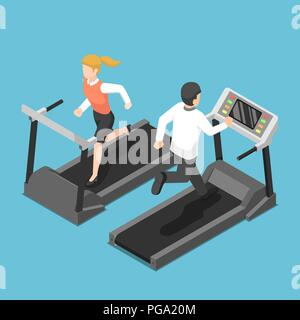 Flat 3d isometric businessman and businesswoman running on treadmill. Business training concept. - Stock Photo