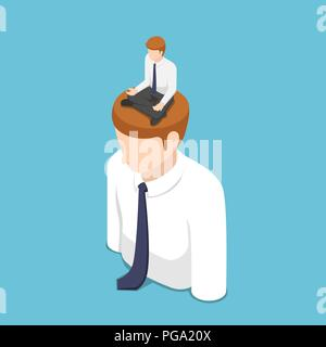 Flat 3d isometric businessman doing meditation in lotus position on the business people head. Meditation concept. - Stock Photo