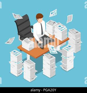 Flat 3d isometric businessman doing meditation on desk with pile of paperwork to calm down the stressful emotion from hard work. Relax and meditation  - Stock Photo