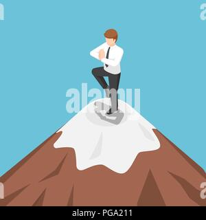 Flat 3d isometric businessman doing yoga on the top of mountain. Meditation and success concept. - Stock Photo