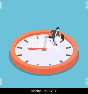 Flat 3d isometric businessman running on big clock face. Rush hour and dead line concept. - Stock Photo