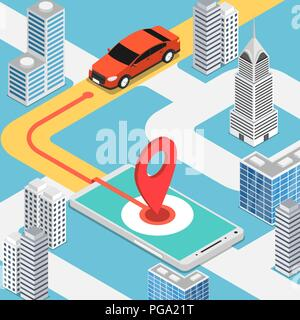 Flat 3d isometric car moving at pinpoint on mobile map application. Mobile gps map navigation technology concept. - Stock Photo