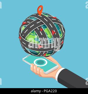 Flat 3d isometric transportation road circled around the world that floating on smartphone. Global transportation and mobile gps map navigation concep - Stock Photo